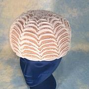 Elegant Mod 1960's Beige Bubble Vintage Hat