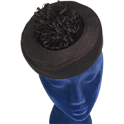 Eye Catching 1940s Vintage Black Topper Tilt Hat