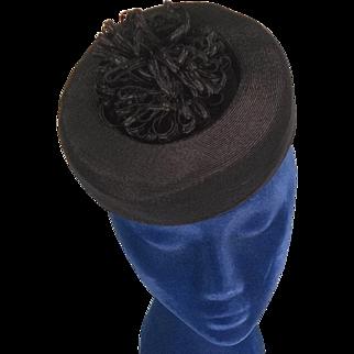Eye Catching 1940s Vintage Black Topper Tilt Hat