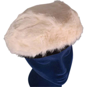 Plush White Rabbit Fur Vintage Beret Hat