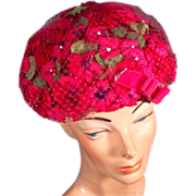 SOLD Bright and Cheery 1960's Hot Pink Vintage Net Bubble Hat