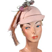 1930s Art Deco Slouching Sculptured Pink Felt Vintage Hat