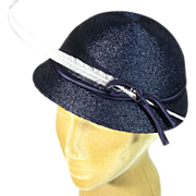 Eye Catching Late 40s New Look Navy Blue Profile Vintage Hat