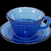 Hazel Atlas Cobalt Blue Moderntone Vintage Coffee Cup and Saucer