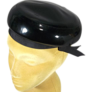 Adorable Black Patent Vinyl 1950s-60s Vintage Pillbox Hat