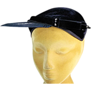 Classic 1950's Black Velvet Close Fitting Vintage Hat