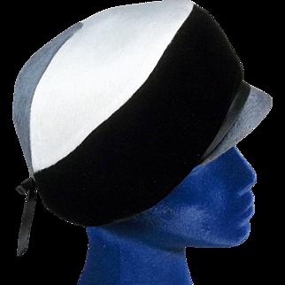 Sublime 1960s Felt and Velvet Tricolor Vintage Derby Hat
