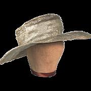 Phenomenal Edwardian Green Crinoline Straw Vintage Wide Brim Hat