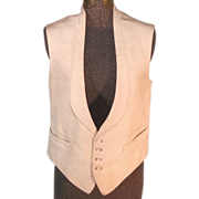 Sophisticated 1920s Cream Silk Vintage Men's Vest or Shirtwaist