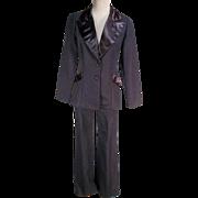 Sharp 1970s Black Polyester Ladies Vintage Tuxedo Pants Suit