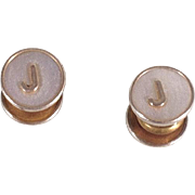 """Vintage 1920s Silver Tone Snap Cufflinks Mother of Pearl Monogrammed """"J"""""""