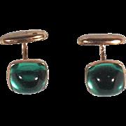 Vintage 1900s Brass Gold Tone Cufflinks w Green Stones