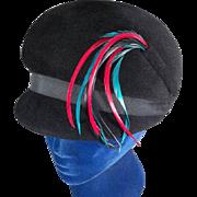 Delightful Mod 1960s Black Velour Felt Vintage Bubble Hat