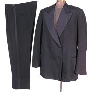 Dashing 1940s Vintage Double Breasted Tuxedo Suit