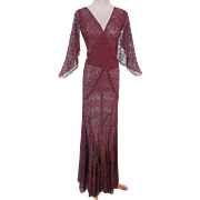 Alluring 1930s Vintage Brown Lace Bias-Cut Evening Dress