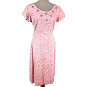 Demure 1950s Pink Lace Cocktail Dress