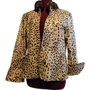 Leopard Cheetah Print Leather Jacket w Sable fur collar