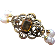 Freshwater Pearl Bracelet Restyled with Antique Art Nouveau Brooch