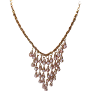 Peach Sea Shell Pearls and Rhinestone Waterfall Style Bib Statement Necklace