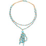 Long Beaded Chain Sweater Necklace of Vintage Czech Glass Beads/ Turquoise Blue Howlite Beads