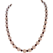 Frosted Crystal Bead Necklace & Earrings  with Garnet Glass  beads and  Gold spacers