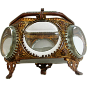 Antique French  Casket Vanity Vitrine Ring Box Footed with Beveled Glass and  Ormolu Unusual .
