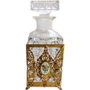 1940's Vintage Pressed Glass and Ormolu Cologne/scent Bottle