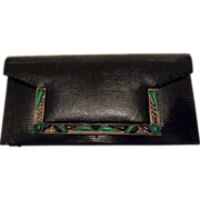 SOLD Exceptional Black Leather Vintage Art Deco Jeweled Clutch Purse