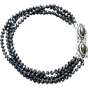 Black Glass Bead Statement Necklace Restyled with Art Deco enamel, Cabochon and Faux Marcasite