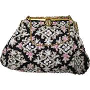 Vintage Hand Beaded  1940's Evening Purse with Amazing Enameled Frame