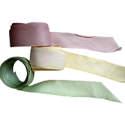 "French Silk Hand Dyed Ribbon Lot 1 1/2"" Wide Lilac Yellow Mint Green Warehouse ..."