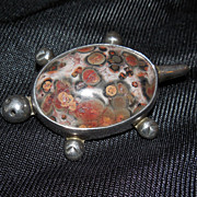 Taxco Turtle - Sterling Brooch with Agate Stone