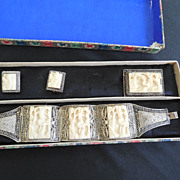 Carved Filigree Silver Chinese Export Jewelry In OB - Circa 1920