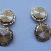 14K Gold Art Deco Cufflink Cuff Buttons - Signed WAB