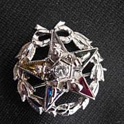 Diamond, Gemstone and 10K Gold Masonic Pin