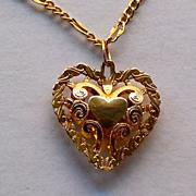 14K Gold Filigree Heart On 14K Gold Chain