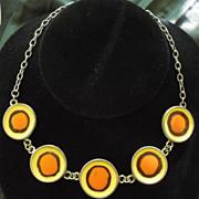 Signed Stefanel Enamel Orb Necklace