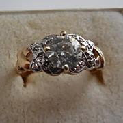 Lovely 10K Gold Faux Diamond Ring - size 9