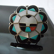 Vintage Native American Zuni Sun God Ring - Large Size - Nice Detail!
