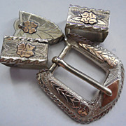 Sterling & 10K Mexico Ranger Belt Buckle Set