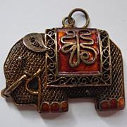 SALE Chinese Export Gilt Silver Elephant Enamel Cannetille Pendant