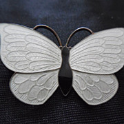 SALE Denmark Sterling Silver and Enamel Butterfly Brooch In Black and White