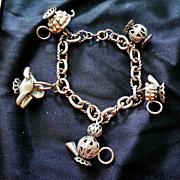 Unusual Vintage Charm Bracelet - Tea Party