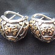 John Hardy Sterling & 18K Gold Earrings Fleur De Lis Dots