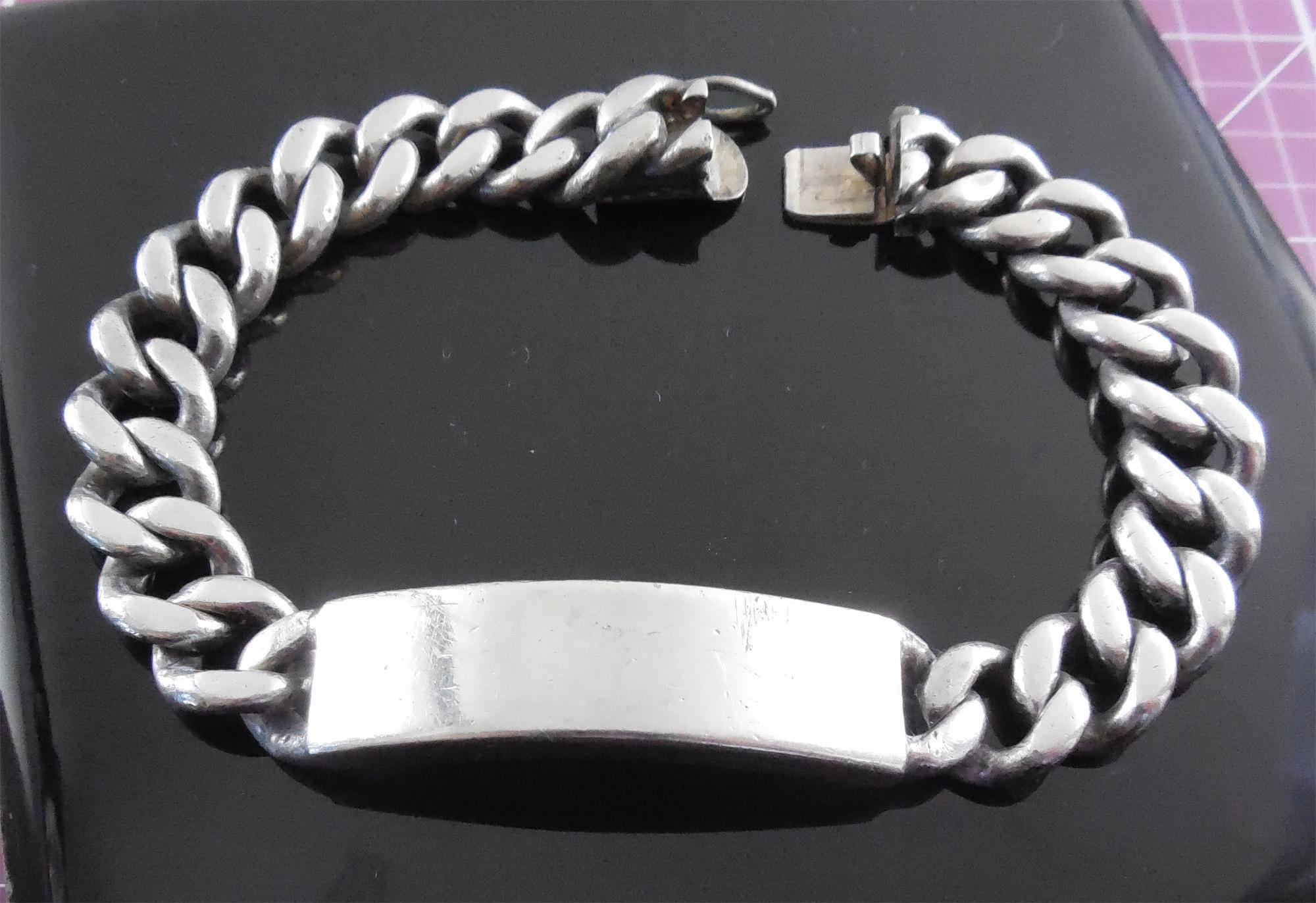 heavy vintage sterling silver identification bracelet