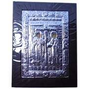 SALE 950 Silver Byzantine Icon Wall Hanging