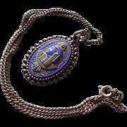 Rare Vintage Czech Blue Green Glass Pharaoh Necklace