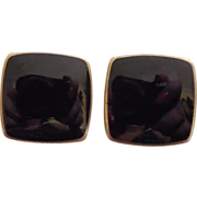 Norway Sterling Enamel Earrings - Black Enamel Signed Opro