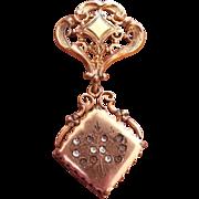 Victorian Hanging Pendant Locket Brooch - Heart Shaped Design