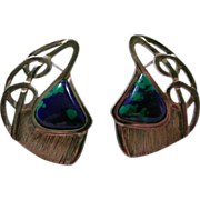 Signed Erika Hult de Corral Modernist Sterling Silver Earrings with Azurite Stone